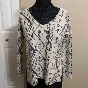 Tan and Gray Geometric Wool Sweater - Free People